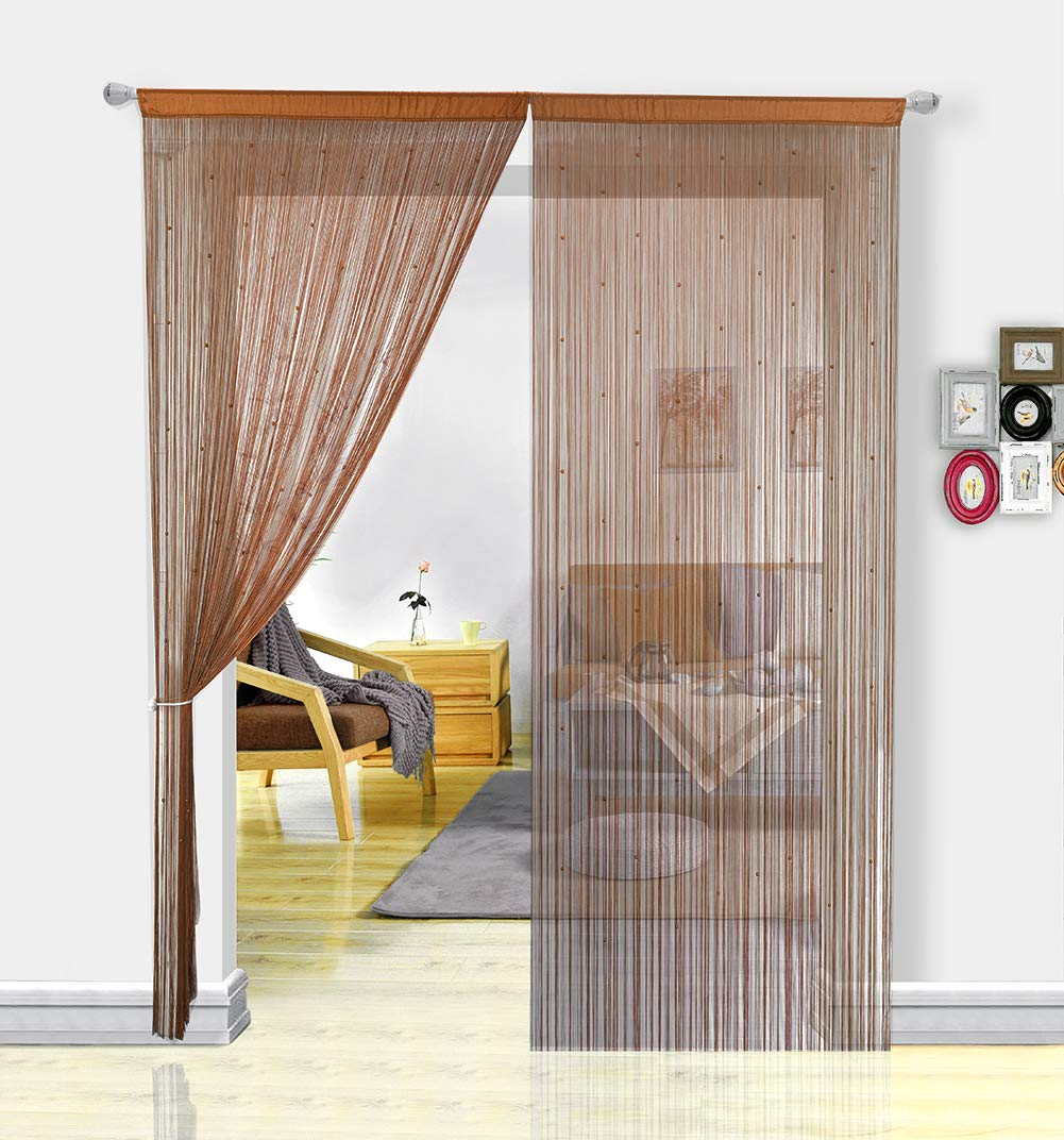HSYLYM String Curtain with Pearl Beads Dense Fringe Beaded Door Tassel Curtains (100x200cm,Coffee)