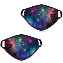 2 Pack Fashionable Starry Sky Pattern Face Cover- Multifunctional Adjustable Nose Bridge Face Cover- Reusable and Washable - Suitable for Family or Outdoor Cycling Running Shopping