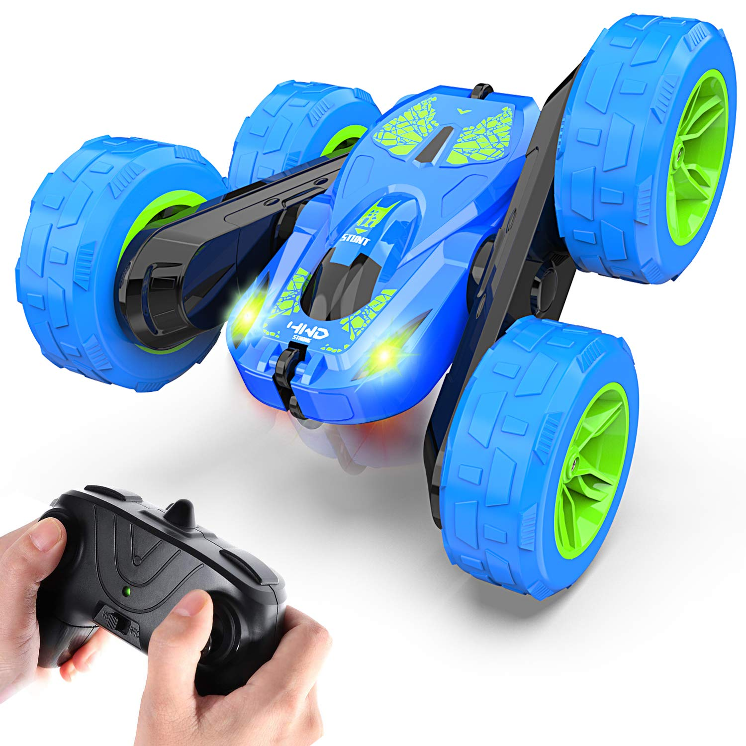 Remote Control Car for Boys RC Stunt Cars, Jepwe Upgraded 4WD 2.4GHz High Speed Race Car with Headlights - Double Sided Rotating Tumbling 360 Degree Flips RC Cars for 4-12 Years Old Kids Boys