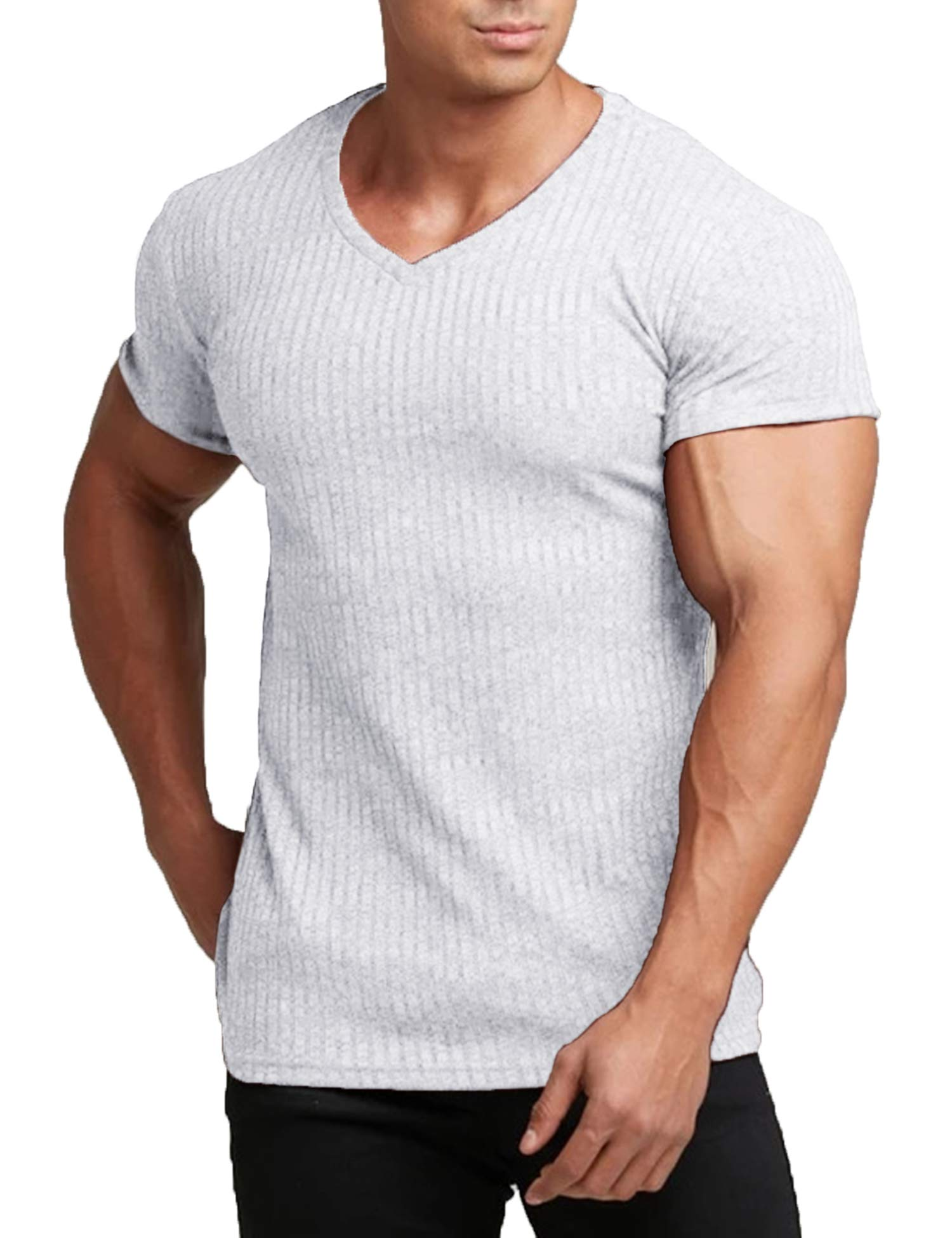 COOFANDY Men's Muscle T Shirts Stretch Short Sleeve V Neck Bodybuilding Workout Tee Shirts