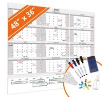 HEA Large Dry Erase Wall Calendar 2020   Premium New Laminate   Blank Undated, Reusable & Erasable 12 Month Annual Planner   Classroom, Office, Project & Family Schedule (48'' x 36'')