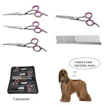 MY-PETS 7 inch Dog Grooming Kit Pet Cat Grooming Scissors Tool Round Tips Professional Stainless Steel Curved Straight Thinning Shears Clippers