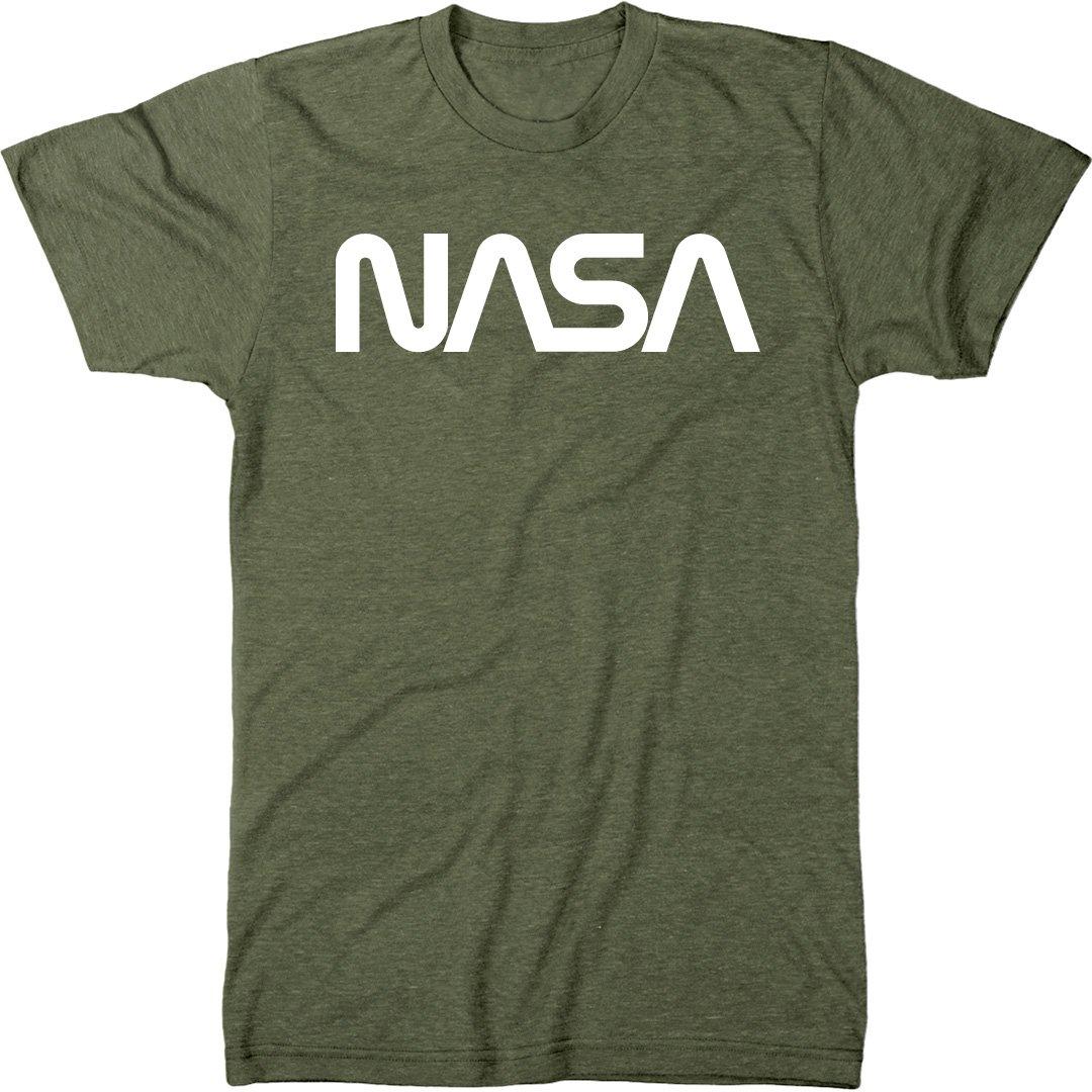 NASA Vintage White Worm Logo Men's Modern Fit Tri-Blend T-Shirt (Military Green, Medium)