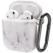 Doweiss Compatible AirPods Case Protective Cover Printed,Headphone Charging Case Protector Cover Floral Printed Compatible for AirPods 1 & 2 (Marble White)