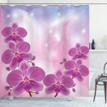 "Ambesonne Floral Shower Curtain, Exotic Orchid Flowers Flourishing on Abstract Background Circles Stars, Cloth Fabric Bathroom Decor Set with Hooks, 70"" Long, Pale Pink"