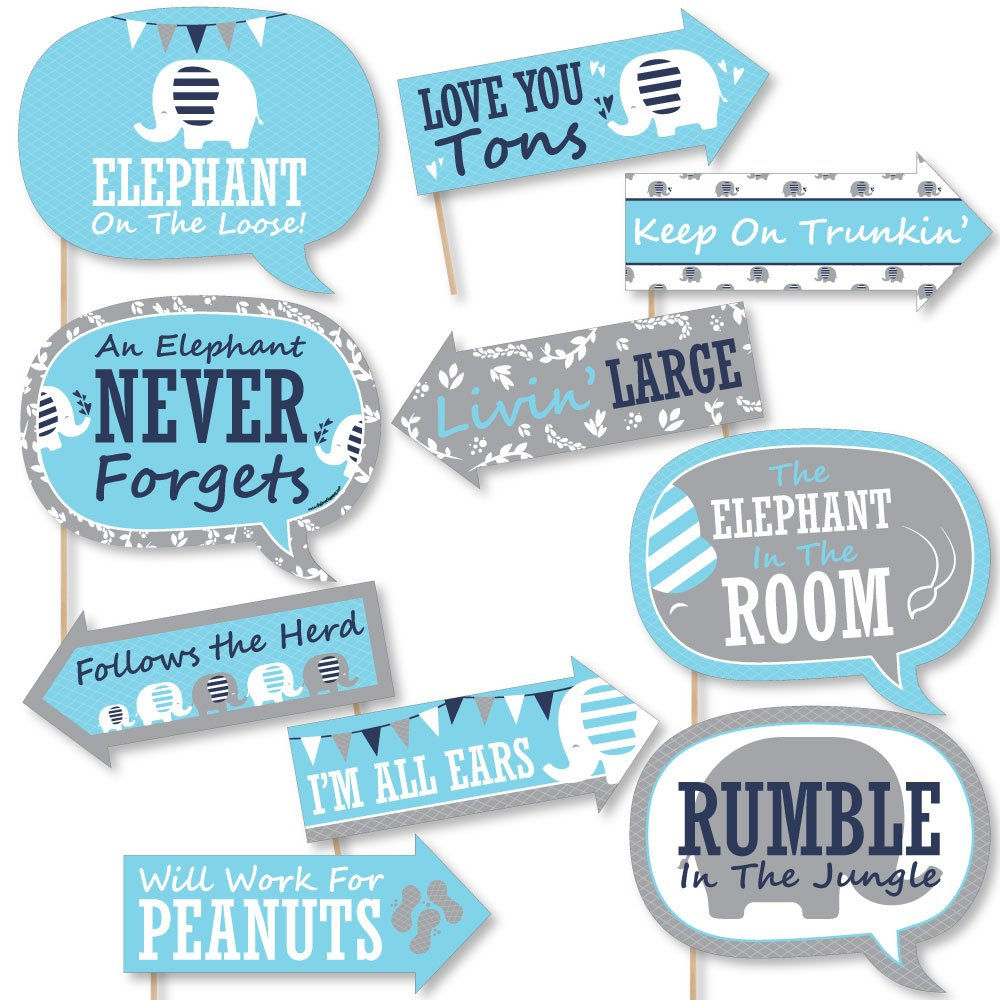 Funny Blue Elephant - Boy Baby Shower or Birthday Party Photo Booth Props Kit - 10 Piece