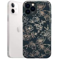 Velvet Caviar Case for iPhone 12 / iPhone 12 Pro [8ft Drop Tested] w/Microfiber Lining (Floral Rose Gold, Black)