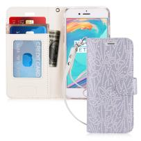 """FYY Case for iPhone 8/iPhone 7/iPhone SE 2020 4.7"""",[Kickstand Feature] Luxury PU Leather Wallet Case Flip Folio Cover with [Card Slots][Wrist Strap] for iPhone 8 2017/7 2016 (4.7"""")/SE 2020 Ice"""