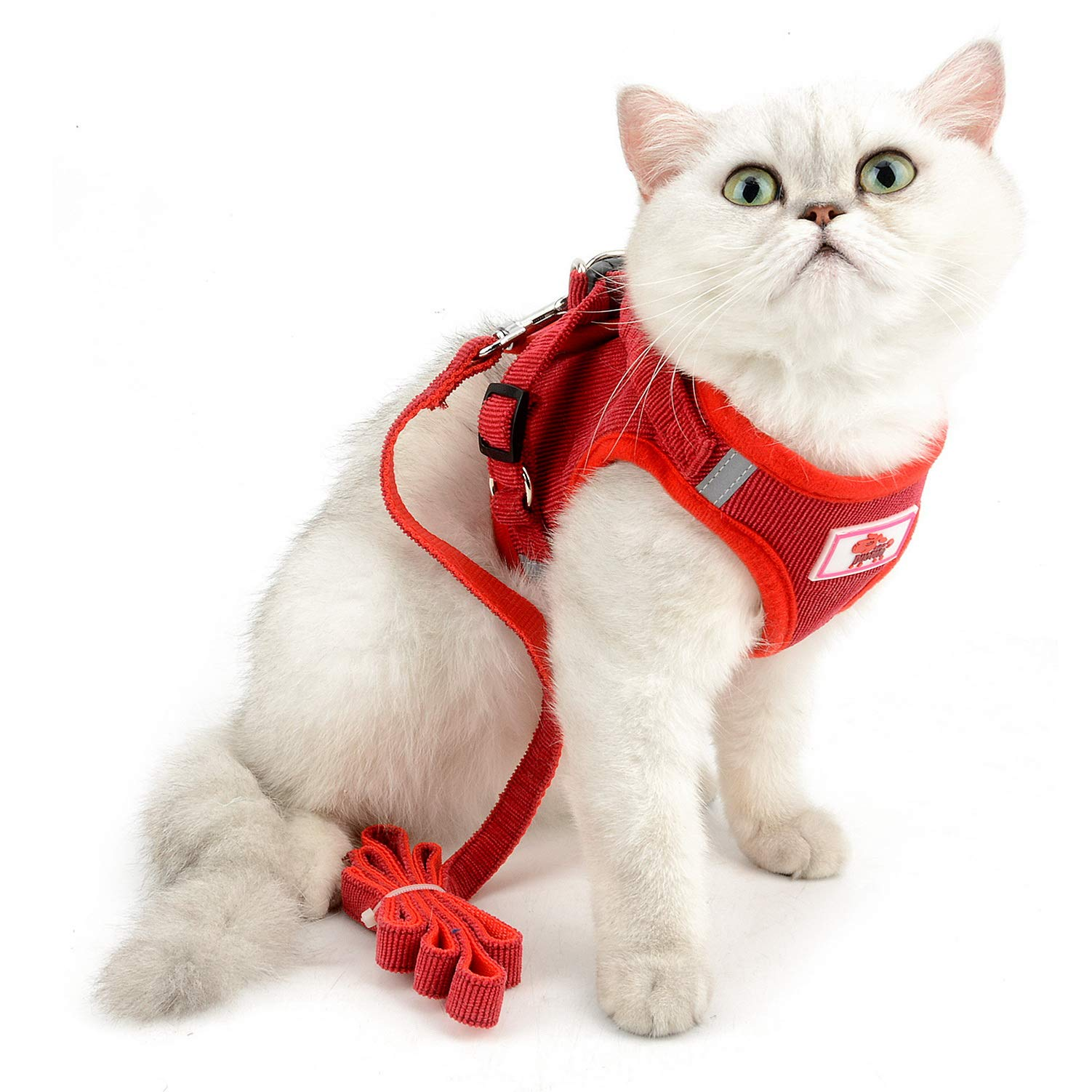 SELMAI Mesh Harness for Cats No Pull No Choke Escape Proof Padded Vest for Puppy Small Dogs Leash Lead for Kitten Walking Jacket Adjustable Training Collar Corduroy Soft Material
