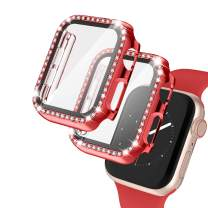 2 Pack Apple Watch Case with Tempered Glass Screen Protector for Apple Watch 38mm, Bling Diamond Rhinestone Bumper Full Cover Protective Case Compatible with iWatch Series 3/2/1, Red