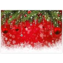 Allenjoy 10x8ft Fabric Snowflake Christmas Backdrop for Winter New Year Photography Family Party Birthday Supplies Glitter Bokeh Sparkle Red Merry Background Baby Shower Decorations Photo Booth Props