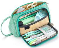 Big Capacity Pencil Cases Canvas Students Pencil Storage Pouch Stationery Bag for School Office Pencil Pen Bags (Green)