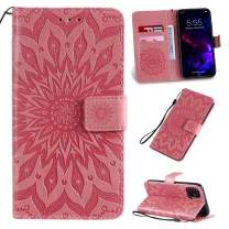 Cmeka 3D Sunflower Wallet Case for iPhone 11 2019 6.1 inch with Credit Card Slots Holder Magnetic Closure Slim Flip Leather Kickstand Function Protective Case Pink