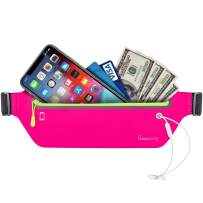 Fanny Pack Running Belt for Women - Upgrade Oversized Waterproof Ultra Slim Waist Bag for Men No-Bounce Reflective Adjustable Runners Phone Holder Pouch for Fitness, Exercise, Workouts, Travel