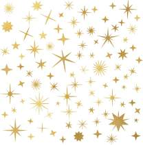 Easma Sparkle Decals Star Decals, Nursery Wall Decal, Kids Room Decor, Star Wall Decor, Sparkle Wall Art, Baby Room Star Wall Sticker Peel&Stick Removable Decals (Vintage Gold)