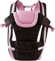 GPCT Hands Free Shoulder Travel Baby Child Carrier. 4 Carrying Positions, Waist/Back/Head Support, Safety Buckles, Adjustable Straps Infants Babies Toddlers Newborns Wrap Carrier- Men/Women- Pink