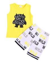 Baby Boys Summer Cotton Sleeveless T-Shirt Vest+ Short Pants Clothes Outfit Set