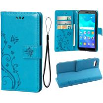 Wallet Case for Huawei Y5 2018/Y5 Prime 2018, 3 Card Holder Embossed Butterfly Flower PU Leather Magnetic Flip Cover for Huawei Y5 2018/Y5 Prime 2018(Blue)