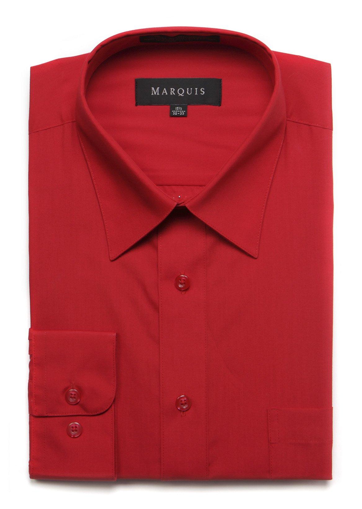 "Marquis Men's Basic Dress Shirt 18.5"" Neck / 34-35"" Sleeve Red"