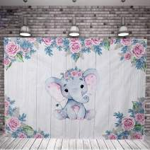 KERIQI 7x5ft Elephant Backdrop for Baby Shower Party Pink Flower Banner Birthday Photography Background Dessert Table Decoration Photo Booth Studio Props Favors Supplies