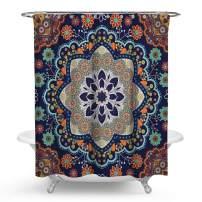 PHNAM Mandala Shower Curtain with Hooks Bohemian Flower 72x72 Inches Extra Long Waterproof Decoration Polyester Cloth Bath Curtains Sets for Bathroom, Bathtub