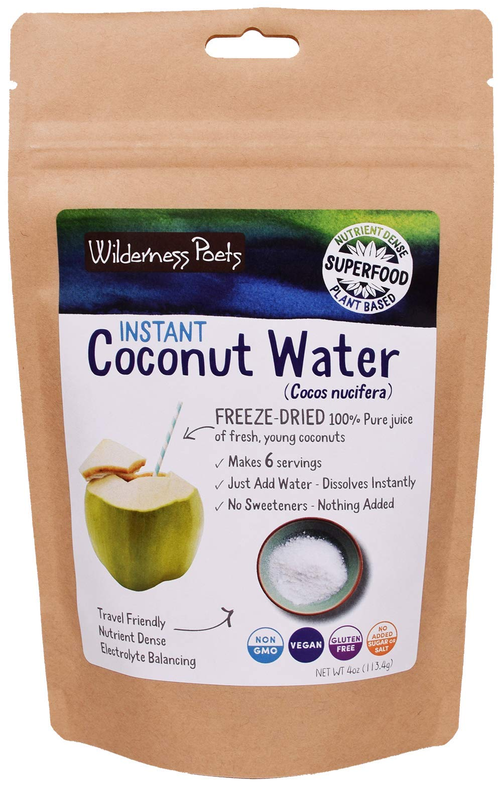 Wilderness Poets Coconut Water Powder - Freeze Dried - Instant Mix (4 Ounce)