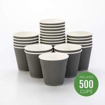 500-CT Disposable Gray 8-OZ Hot Beverage Cups with Ripple Wall Design: No Need for Sleeves - Perfect for Cafes - Eco-Friendly Recyclable Paper - Insulated - Wholesale Takeout Coffee Cup