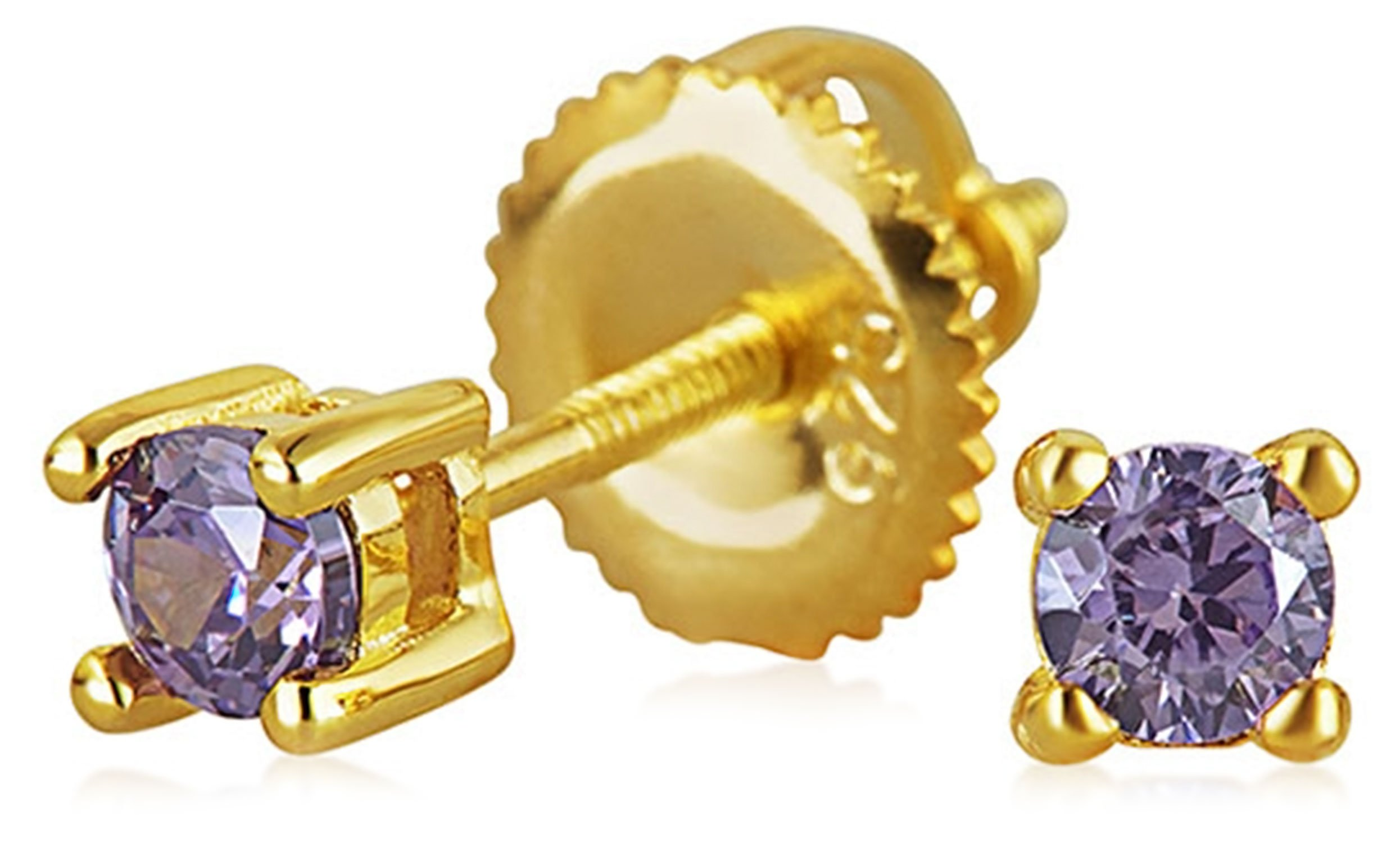 Minimalist Tiny .25CT CZ Simulated Gemstones Solitaire Stud Earrings For Women 14K Gold Plated Sterling Silver Screwback