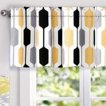 DriftAway Riley Geo Lined Window Curtain Valance Mid Century Geometric Pattern 2 Layers Rod Pocket 52 Inch by 18 Inch Plus 2 Inch Gold Black Gray