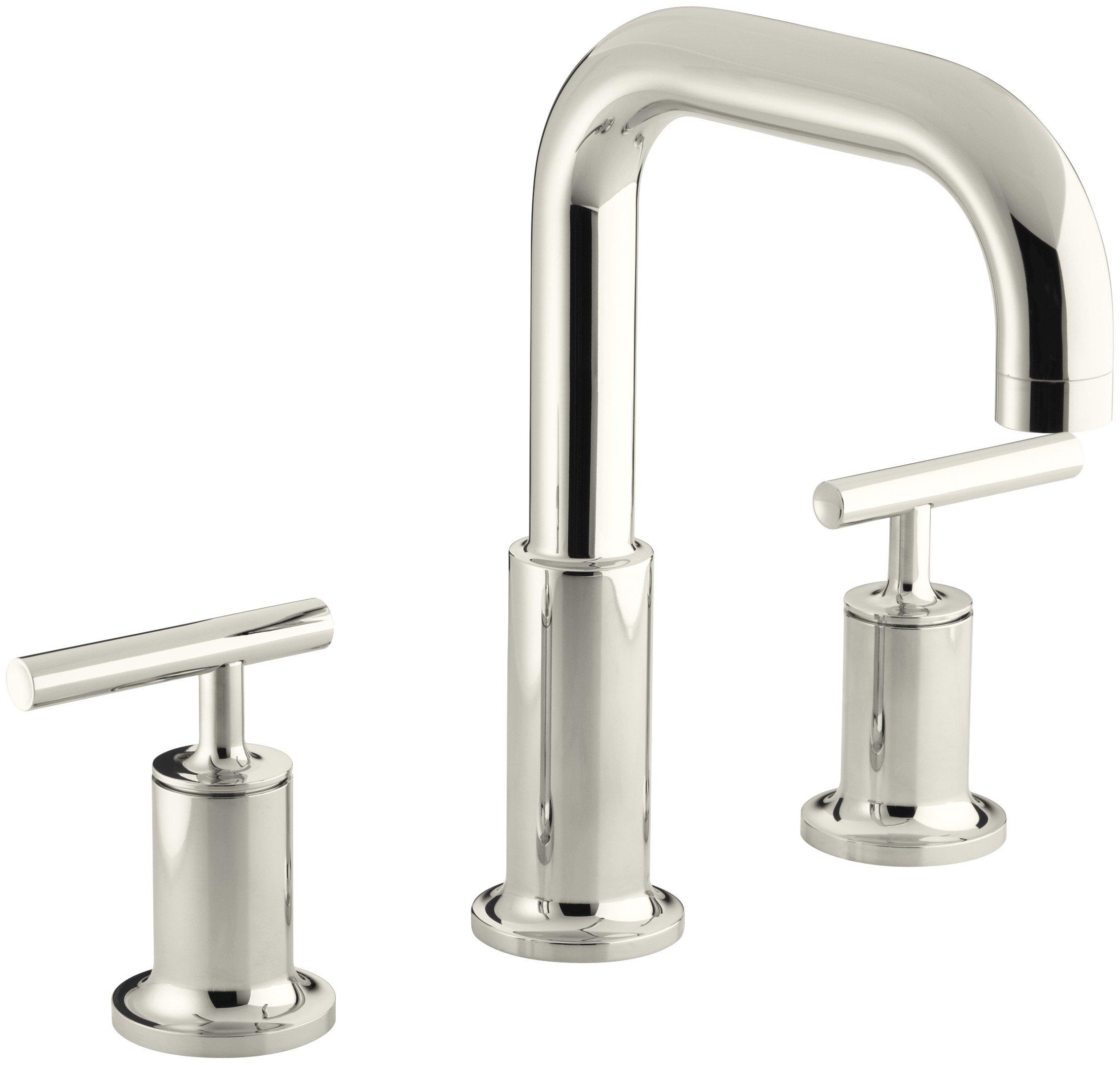 KOHLER K-T14428-4-SN Purist Deck-Mount High-Flow Bath Faucet Trim, Vibrant Polished Nickel