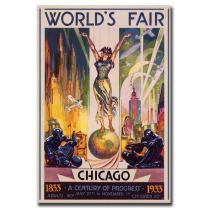 World's Fair Chicago Artwork by Glen Sheffer, 30 by 47-Inch Canvas Wall Art