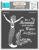 CrafTreat Mermaid Stencils for painting on Wood, Canvas, Paper, Fabric, Floor, Wall and Tile - Mermaid Scale Stencil - 6x6 Inches - Reusable DIY Art and Craft Stencils for Home Decor