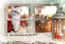 AOFOTO 5x3ft Christmas Window Sill Backdrop New Year Snowflake Photography Background Santa Claus's Surprise Vintage Lantern Holiday Party Decoration Wallpaper Kid Child Photo Shoot Studio Props Vinyl