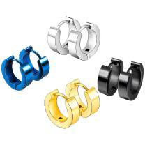 MOWOM Silver Gold Two Tone Black Blue Stainless Steel Stud Small Hoop huggie Earrings