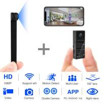 Mini Spy Camera 1080P WiFi Hidden Video Camera Wireless Covert Security Cameras 150° Wide Angle Nanny Cam with DIY Interchangeable Lens/Night Vision/Motion Activated for Home Surveillance(New Version)