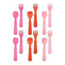 RE-PLAY Made in The USA 12pk Fork and Spoon Utensil Set for Easy Baby, Toddler, and Child Feeding in Bright Pink, Red and Blush | Made from Eco Friendly Heavyweight Recycled Milk Jugs | (Valentine)