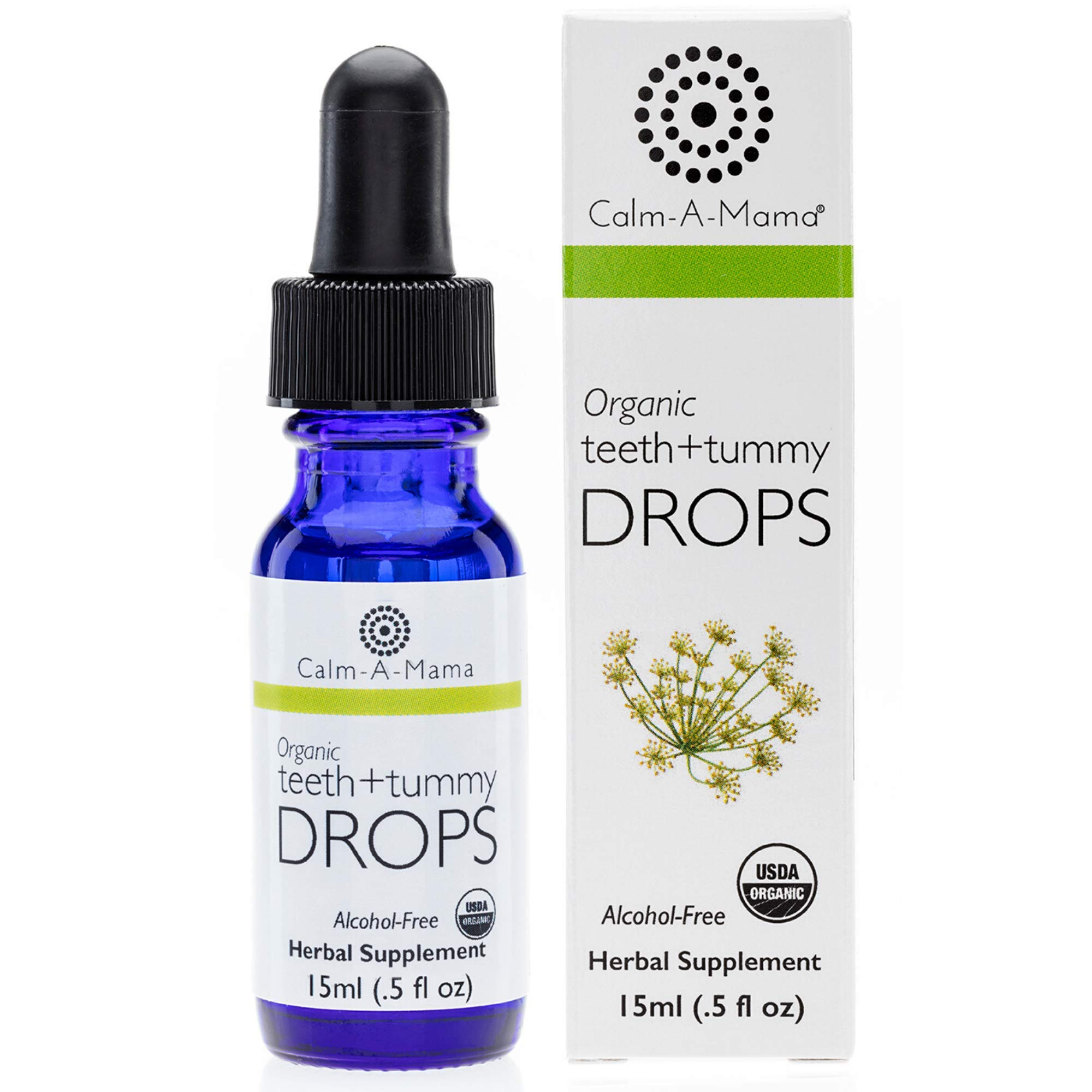 Calm-a-Mama Organic Teeth and Tummy Pain Relief Drops for Babies – 0.5oz / 15ml Natural Soothing Remedies for Newborns – Plant-Based Teeth Relief Drops Made in The USA with Organic Fennel Extract