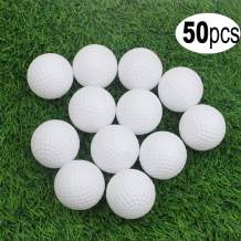 KOFULL Golf Practice Ball, Hollow Golf Plastic Ball for Indoor Training -Pack of 50pcs (4 Colors Available)(White,Yellow,Blue,Red)