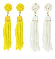 ORAZIO 1-2 Pairs Long Tassel Earrings For Women Girl Beaded Fringe Dangle Ear Drops