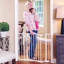 "Toddleroo by North States 38.25"" wide Arched Auto Close Baby Gate with Easy Step: Extra low threshold reduces trip hazard. Pressure or Hardware Mount. Fits 28.75 to 38.25"" wide (30"" tall, Soft White)"
