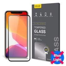 Olixar for iPhone 11 Pro Max Blue Light Screen Protector - Anti Blue Light Glass - 9H Rated - Shock Protection - Easy Application, Card and Cleaning Cloth Included - Black