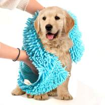 Dog Towel Ultra Absorbent Soft Durable Quick Drying Washable Microfiber Chenille Pet Cat Puppy Bath Dry Towel with Hand Pockets (L-31.5 x 13.7, Blue)