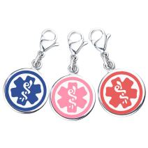 """Divoti Mix N Match 3/8"""" (10mm) 316L Double-Sided Medical Alert Charms-3 Pack, 3 Free Medical ID Cards, Medical Alert Apps"""