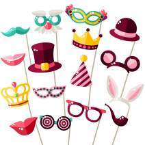 Party Photo Booth Props - Easy Assembly - Mix of Hats, Lips, Crowns, Mustaches and More (16 pcs) - Durable and Vibrant - Perfect for Birthday Parties, Weddings and More
