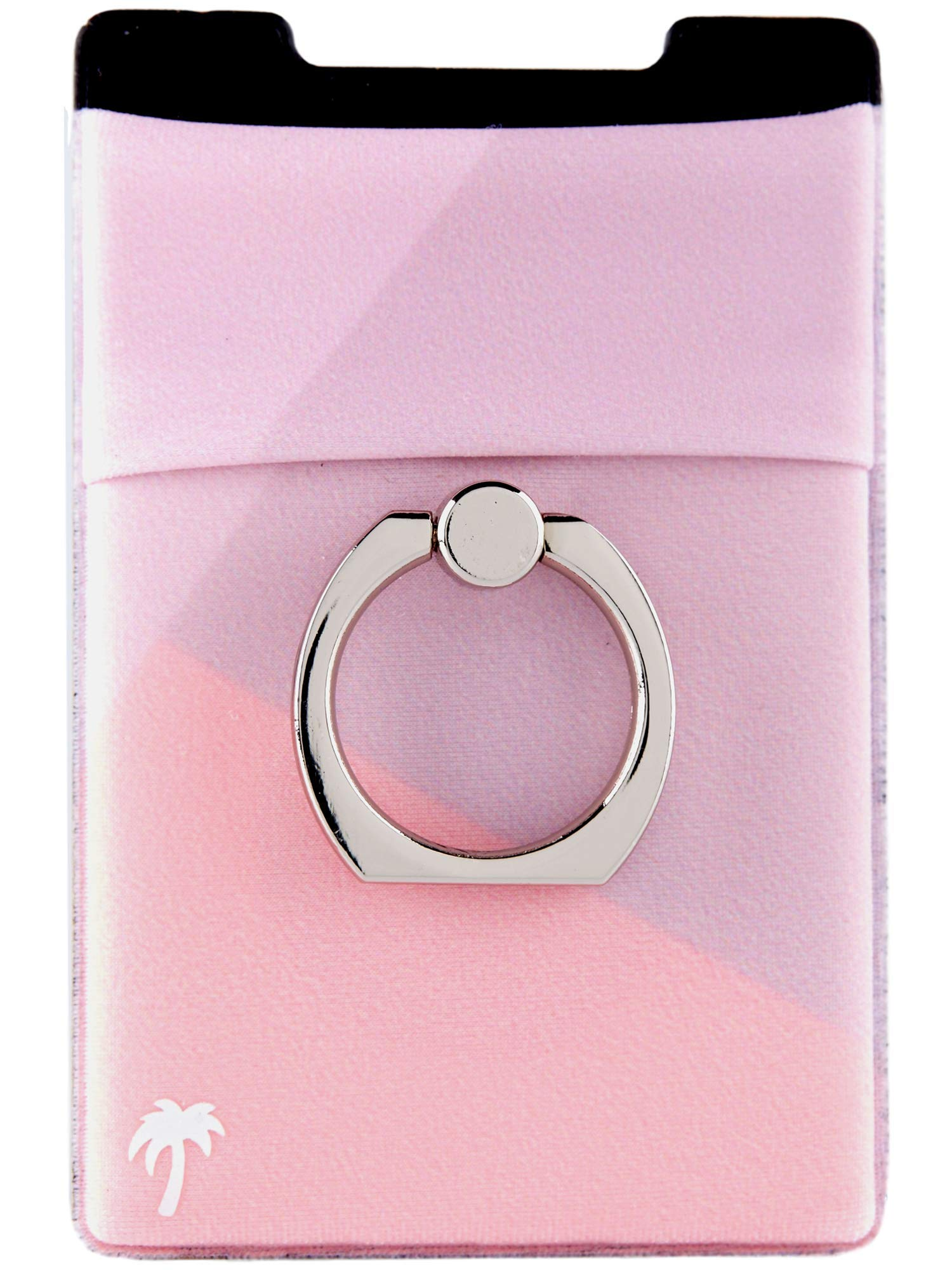 The StickyWallet +Ring – NEW 4-in-1 Spandex Stick-on Wallet for any Phone + Kickstand Ring – Best Card Holder Sticker for Case: iPhone 11, Pro, Max, XR XS X etc.) (Rose Tri-Tone w/ Silver Ring)