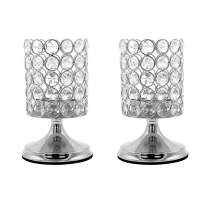 Vincidern Silver Crystal Cylinder Candle Holders Decor, Candlelight Dinner Candlestick Holder for Table Centerpieces, Home Decor, Party, Holiday Decorations (Pack of 2)