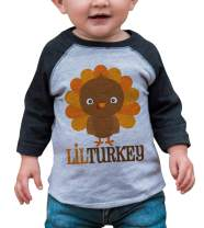 7 ate 9 Apparel Baby Boy's Little Turkey Thanksgiving Grey Raglan