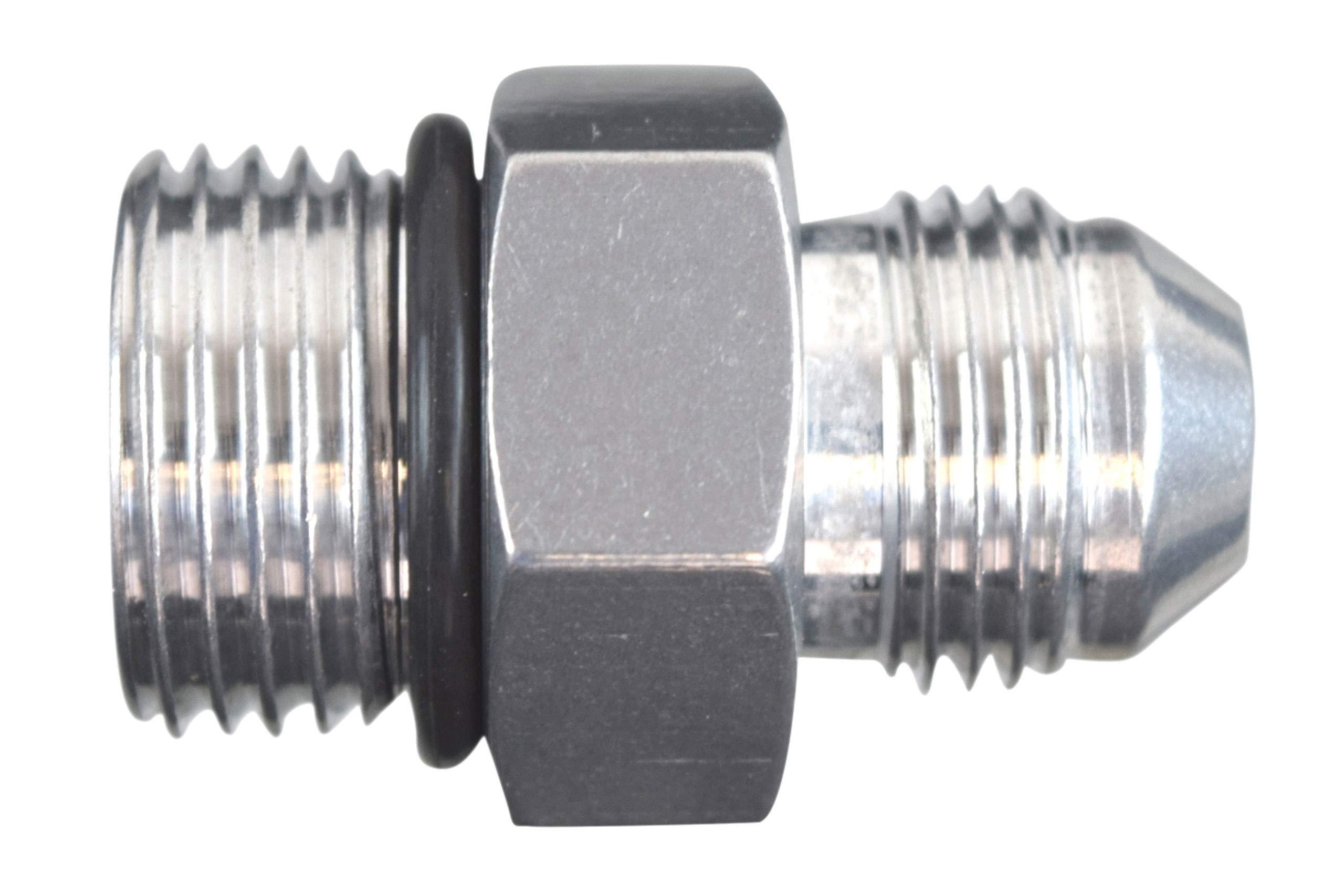ICT Billet -8AN Flare to -10AN ORB Oring Male Fuel Pump Rail Adapter Fitting Flare Hose Plumbing Oil Straight Thread Regulator Port Fluid End Bare Aluminum AN920-08-10A