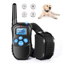 Runpettee Dog Training Collar Full Waterproof Rechargeable Remote Dog Training Shock Collar withVibration, Shock, Tone and Backlight LCD, Vibra Shock Electronic Collar