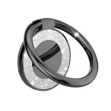 Cell Phone Ring Holder Finger Kickstand - Pikabo 360 Degree Rotation Metal Ring Grip for Magnetic Car Mount Compatible with iPhone, Samsung, All Smartphone. (Glitter Black)